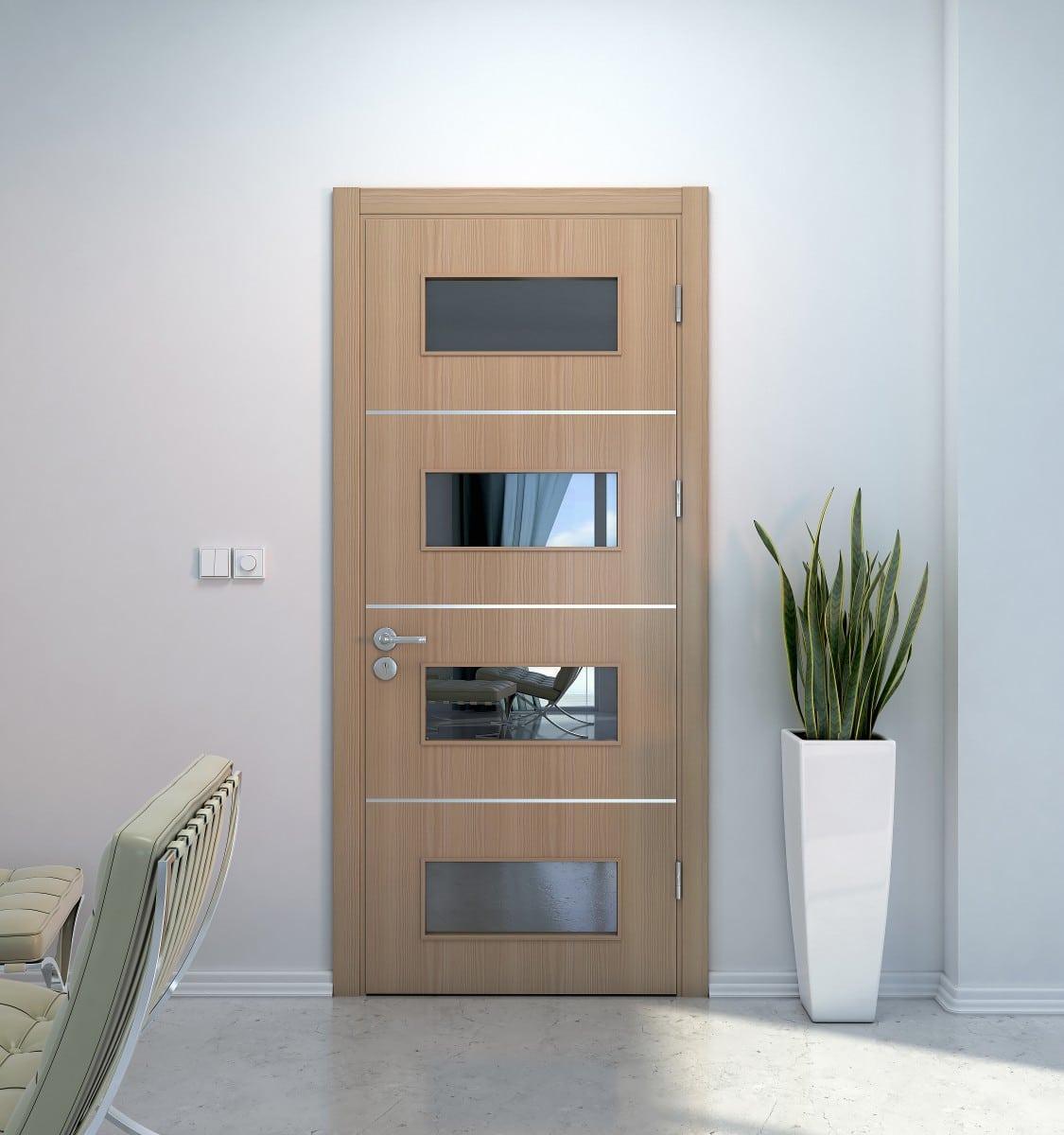 Porte intérieure avec un oculus horizontal miroir ainsi que 3 inserts en aluminium