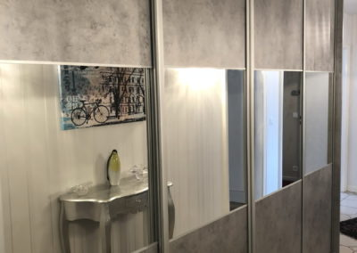 Placard de couloir Béton et miroir