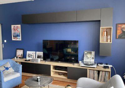Meuble TV hi-fi (modules supendus en MDF médium noir huilé)